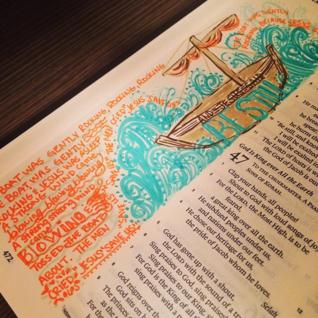 Journaling Bible | Jesus Said Be Still | apileofashes.com #journalingbible #artworship