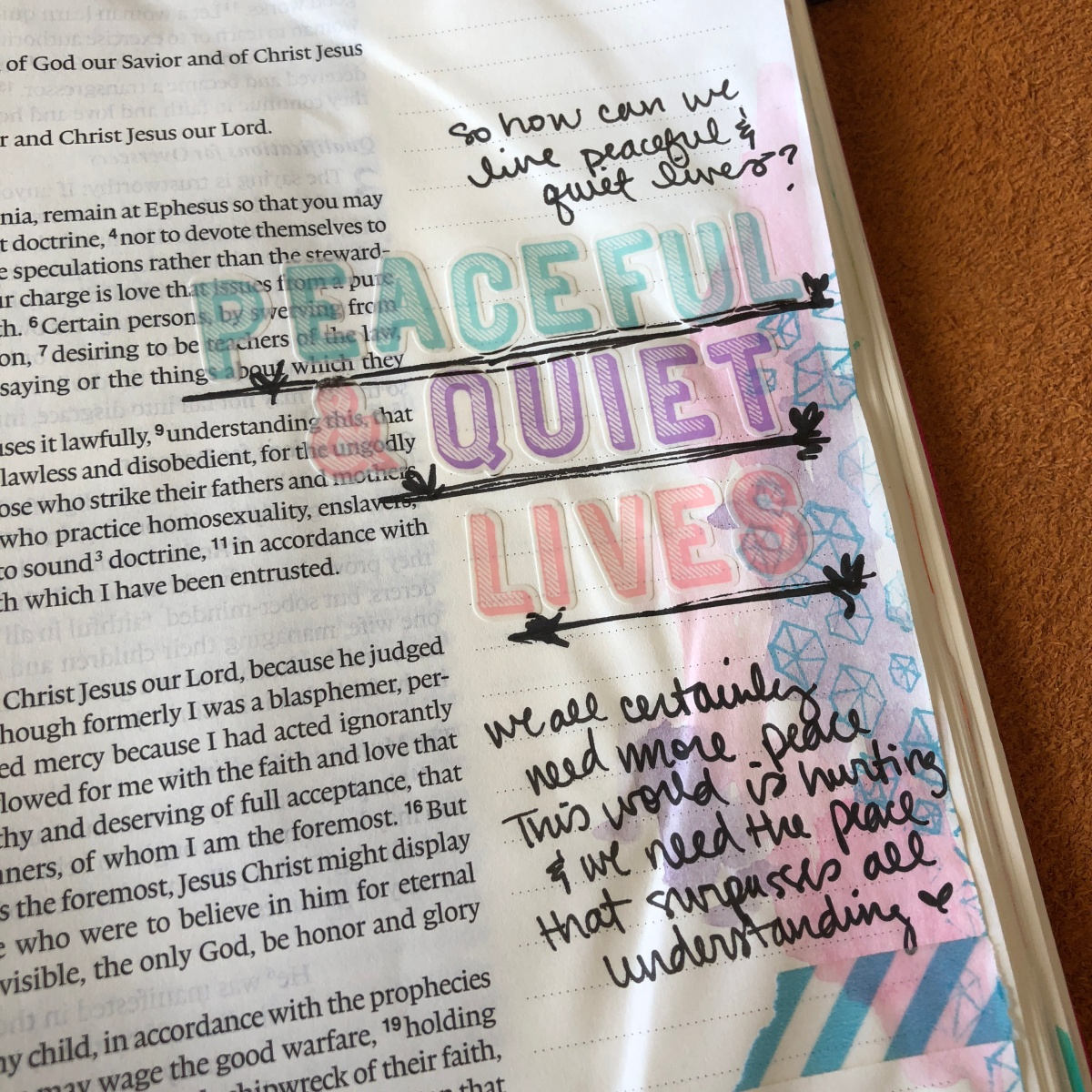 Peaceful Quiet Lives | #IF_Goals Bible Journaling